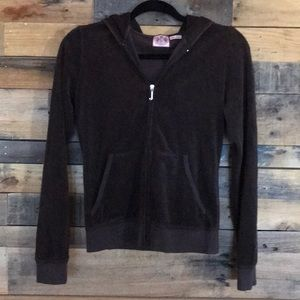 Juicy Couture Brown French Terry Zip Hoodie sz M